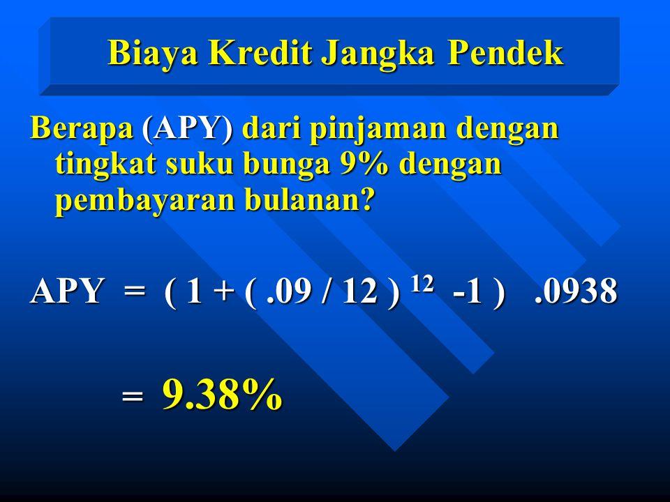 Berapa (APY) dari pinjaman dengan tingkat suku bunga 9% dengan pembayaran bulanan? APY = ( 1 + (.09 / 12 ) 12 -1 ).0938 = 9.38% = 9.38% Biaya Kredit J