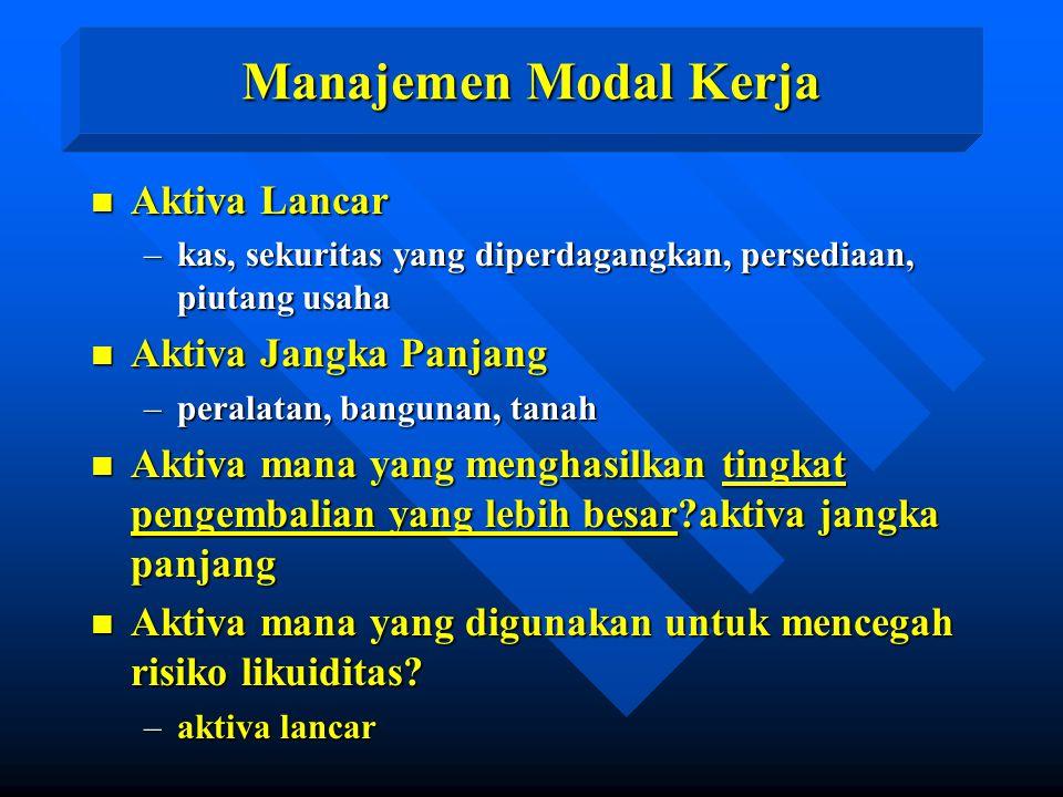 Manajemen Modal Kerja n Aktiva Lancar –kas, sekuritas yang diperdagangkan, persediaan, piutang usaha n Aktiva Jangka Panjang –peralatan, bangunan, tan