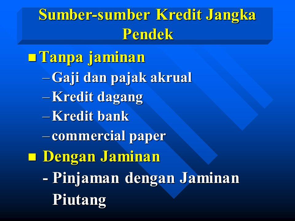 n Tanpa jaminan –Gaji dan pajak akrual –Kredit dagang –Kredit bank –commercial paper n Dengan Jaminan - Pinjaman dengan Jaminan - Pinjaman dengan Jami