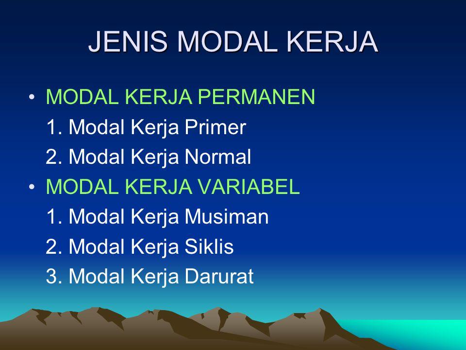 JENIS MODAL KERJA MODAL KERJA PERMANEN 1.Modal Kerja Primer 2.