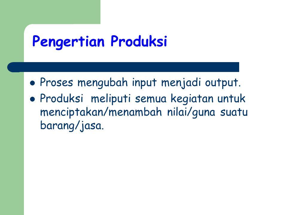 Pengertian Produksi Proses mengubah input menjadi output. Produksi meliputi semua kegiatan untuk menciptakan/menambah nilai/guna suatu barang/jasa.
