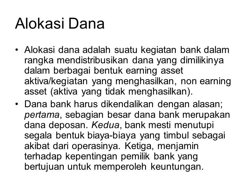 Alokasi Dana Alokasi dana adalah suatu kegiatan bank dalam rangka mendistribusikan dana yang dimilikinya dalam berbagai bentuk earning asset aktiva/ke