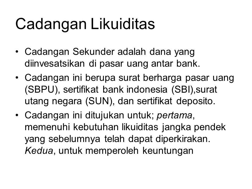 Cadangan Likuiditas Cadangan Sekunder adalah dana yang diinvesatsikan di pasar uang antar bank. Cadangan ini berupa surat berharga pasar uang (SBPU),