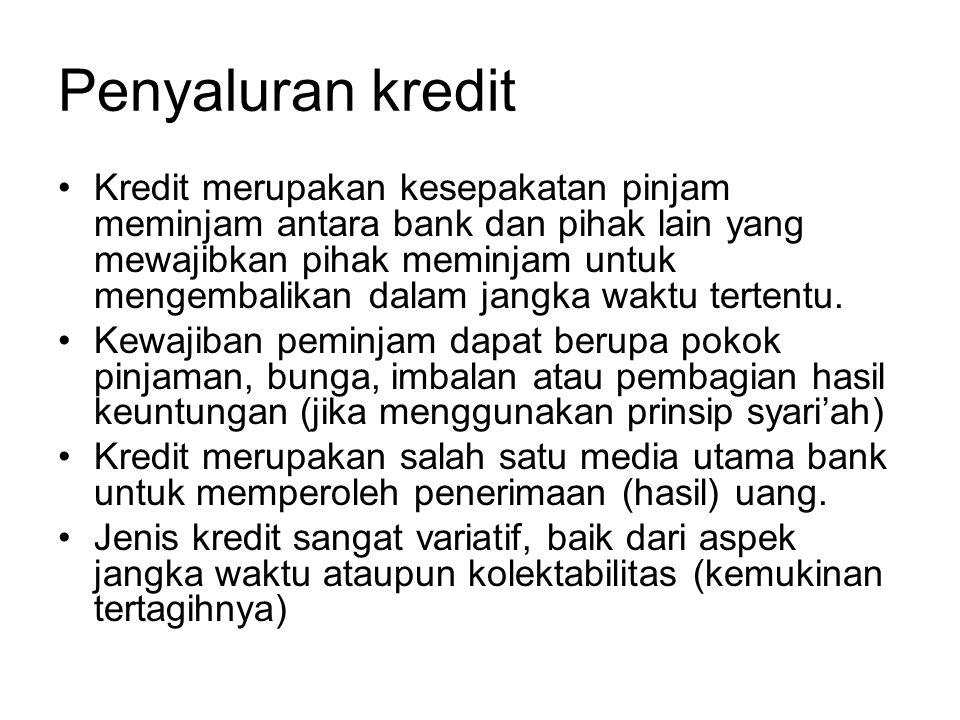 Penyaluran kredit Kredit merupakan kesepakatan pinjam meminjam antara bank dan pihak lain yang mewajibkan pihak meminjam untuk mengembalikan dalam jan