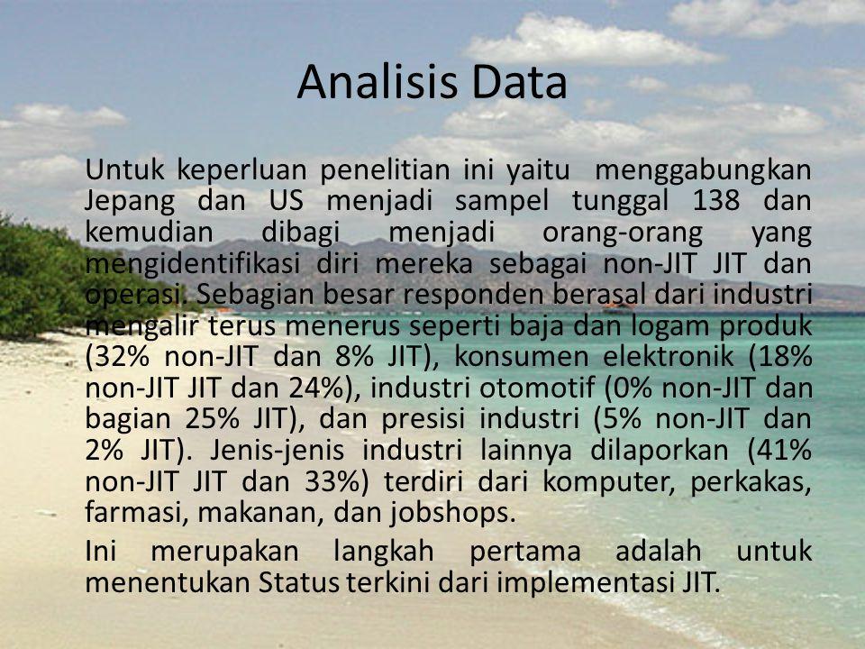 Analisis Data Untuk keperluan penelitian ini yaitu menggabungkan Jepang dan US menjadi sampel tunggal 138 dan kemudian dibagi menjadi orang-orang yang