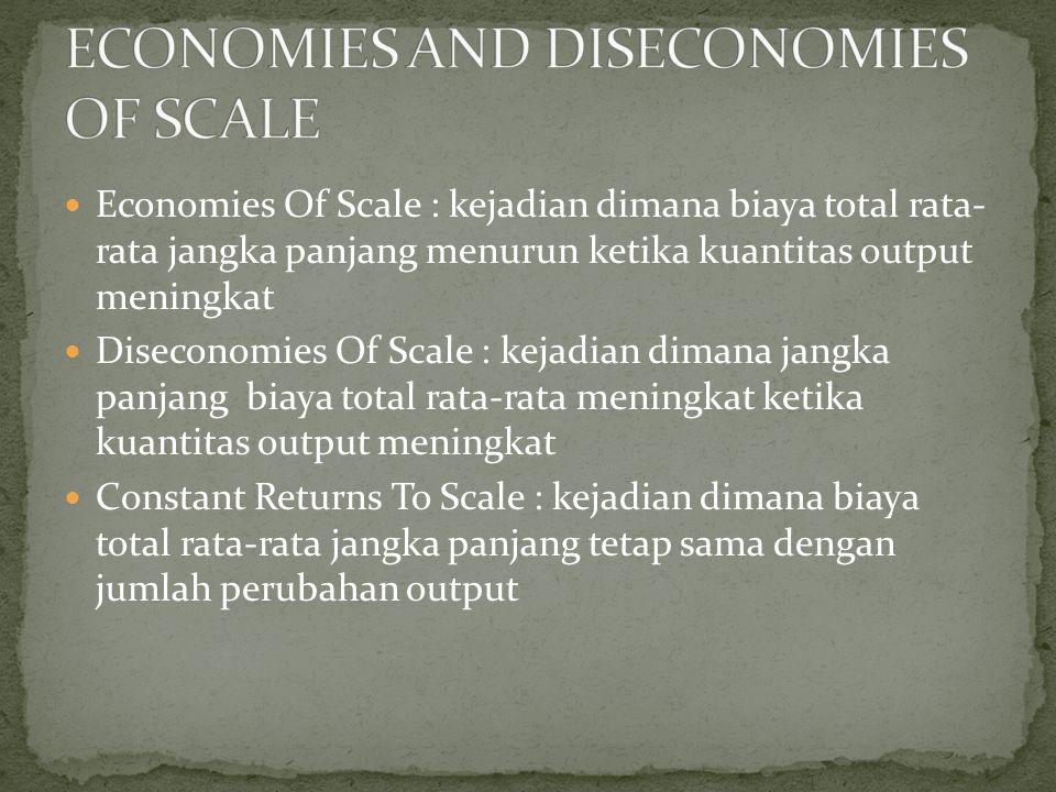 Economies Of Scale : kejadian dimana biaya total rata- rata jangka panjang menurun ketika kuantitas output meningkat Diseconomies Of Scale : kejadian