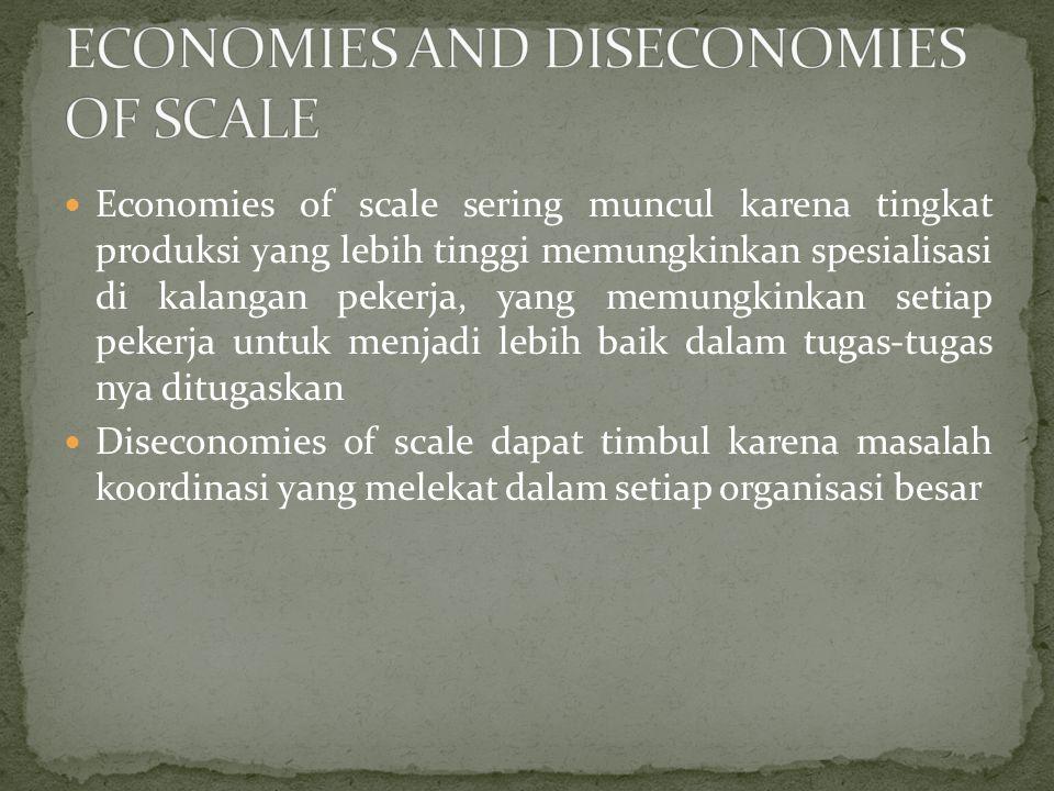 Economies of scale sering muncul karena tingkat produksi yang lebih tinggi memungkinkan spesialisasi di kalangan pekerja, yang memungkinkan setiap pek
