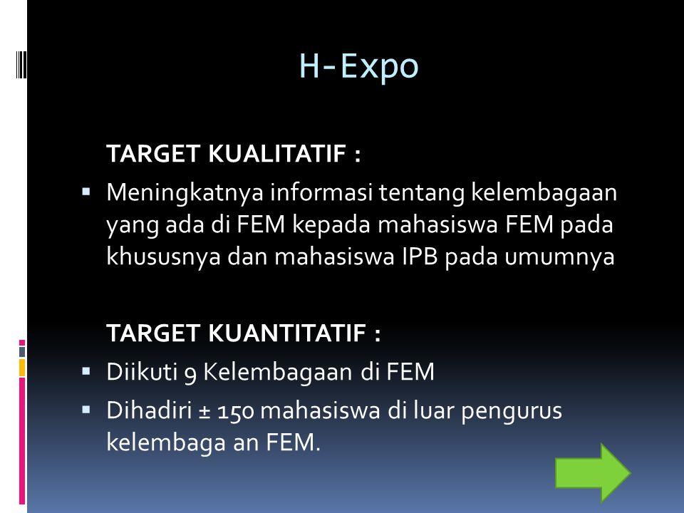 H-Expo TARGET KUALITATIF :  Meningkatnya informasi tentang kelembagaan yang ada di FEM kepada mahasiswa FEM pada khususnya dan mahasiswa IPB pada umumnya TARGET KUANTITATIF :  Diikuti 9 Kelembagaan di FEM  Dihadiri ± 150 mahasiswa di luar pengurus kelembaga an FEM.