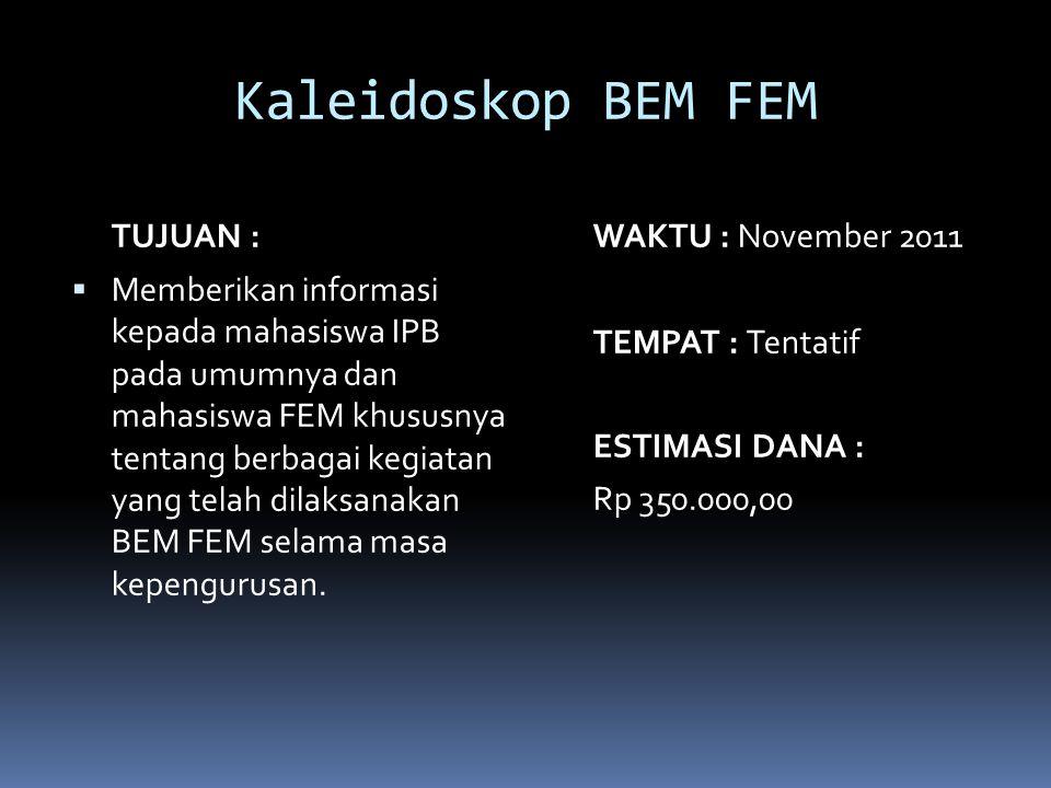 Kaleidoskop BEM FEM TUJUAN :  Memberikan informasi kepada mahasiswa IPB pada umumnya dan mahasiswa FEM khususnya tentang berbagai kegiatan yang telah dilaksanakan BEM FEM selama masa kepengurusan.
