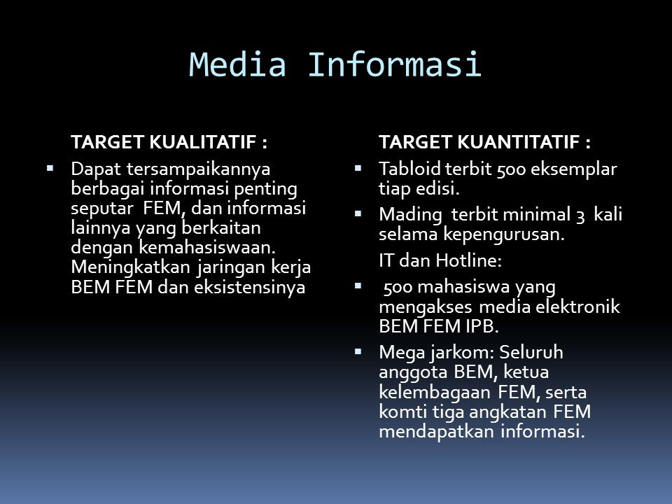 Media Informasi TARGET KUALITATIF :  Dapat tersampaikannya berbagai informasi penting seputar FEM, dan informasi lainnya yang berkaitan dengan kemahasiswaan.