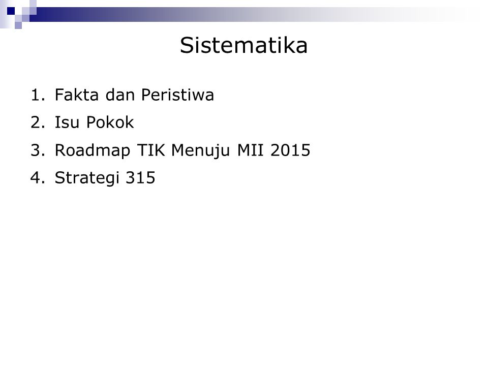 Sistematika 1.Fakta dan Peristiwa 2.Isu Pokok 3.Roadmap TIK Menuju MII 2015 4.Strategi 315