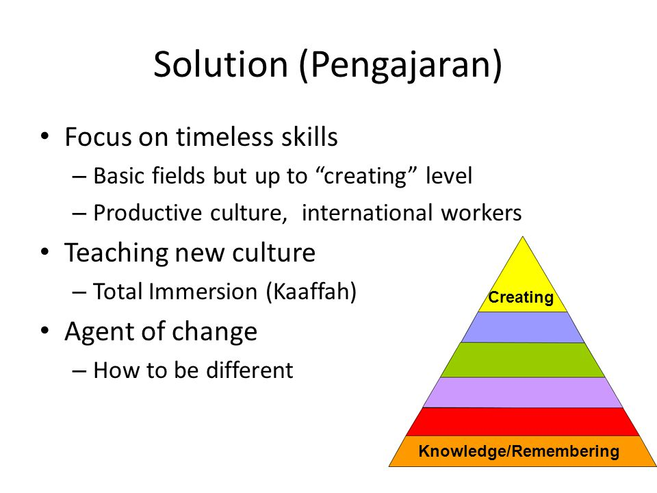 Solution (Pengajaran) Focus on timeless skills – Basic fields but up to creating level – Productive culture, international workers Teaching new culture – Total Immersion (Kaaffah) Agent of change – How to be different Knowledge/Remembering Creating
