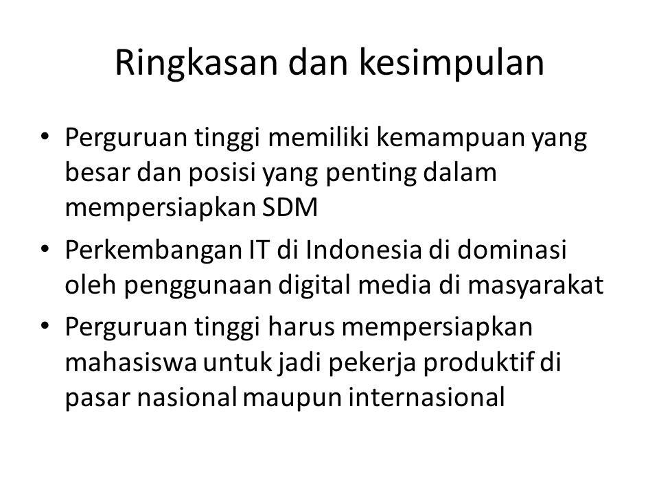 Ringkasan dan kesimpulan Perguruan tinggi memiliki kemampuan yang besar dan posisi yang penting dalam mempersiapkan SDM Perkembangan IT di Indonesia d