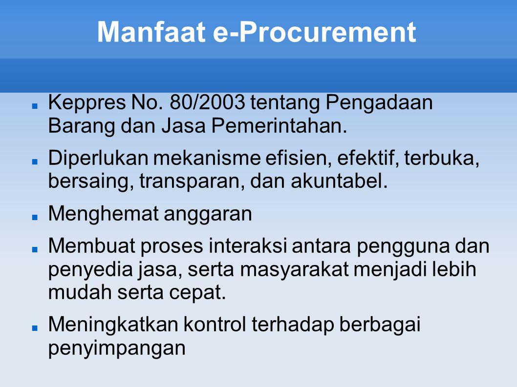 Manfaat e-Procurement Keppres No. 80/2003 tentang Pengadaan Barang dan Jasa Pemerintahan. Diperlukan mekanisme efisien, efektif, terbuka, bersaing, tr