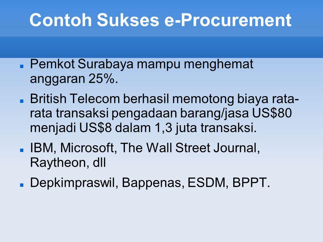 Contoh Sukses e-Procurement Pemkot Surabaya mampu menghemat anggaran 25%. British Telecom berhasil memotong biaya rata- rata transaksi pengadaan baran