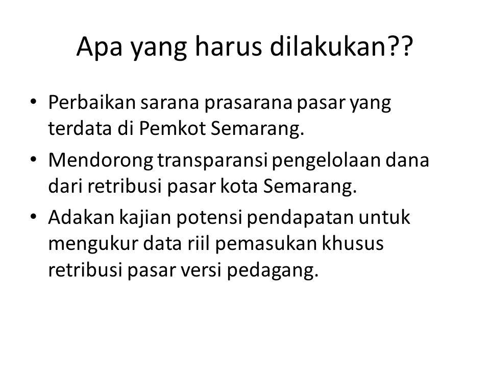 Apa yang harus dilakukan?? Perbaikan sarana prasarana pasar yang terdata di Pemkot Semarang. Mendorong transparansi pengelolaan dana dari retribusi pa