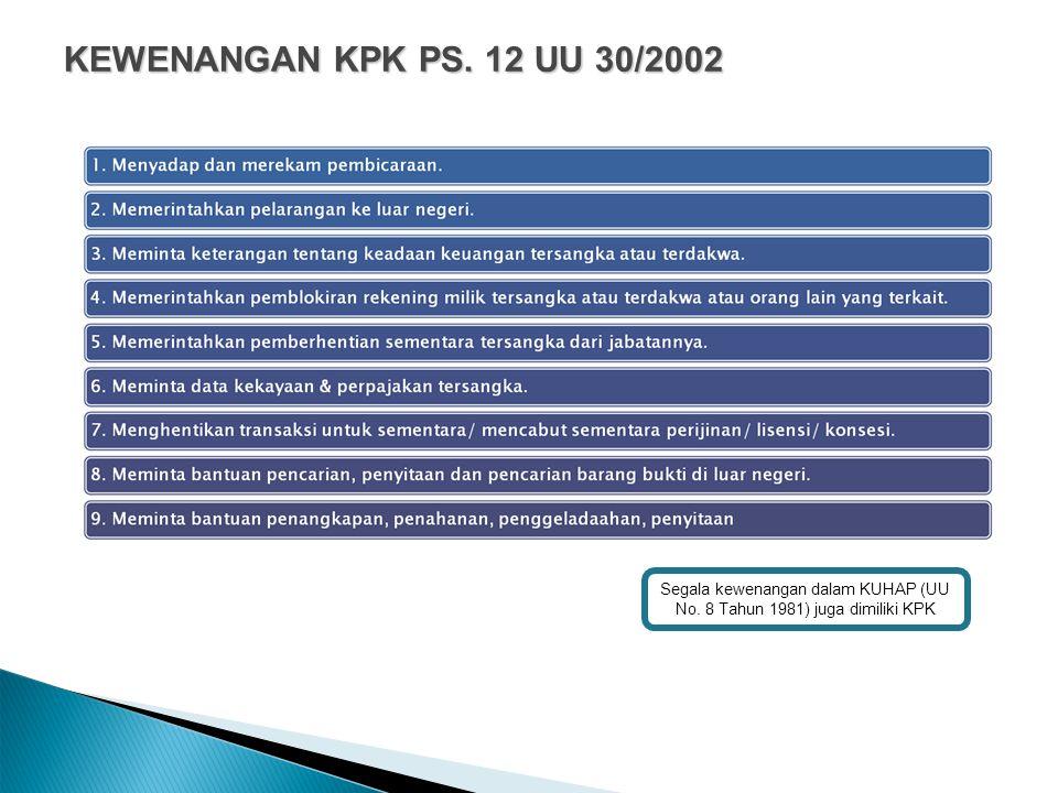 KEWENANGAN KPK PS. 12 UU 30/2002 Segala kewenangan dalam KUHAP (UU No.