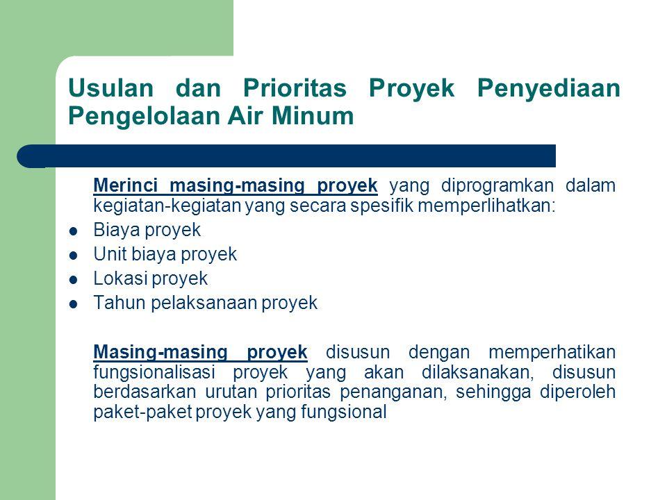 Usulan dan Prioritas Proyek Penyediaan Pengelolaan Air Minum Merinci masing-masing proyek yang diprogramkan dalam kegiatan-kegiatan yang secara spesifik memperlihatkan: Biaya proyek Unit biaya proyek Lokasi proyek Tahun pelaksanaan proyek Masing-masing proyek disusun dengan memperhatikan fungsionalisasi proyek yang akan dilaksanakan, disusun berdasarkan urutan prioritas penanganan, sehingga diperoleh paket-paket proyek yang fungsional
