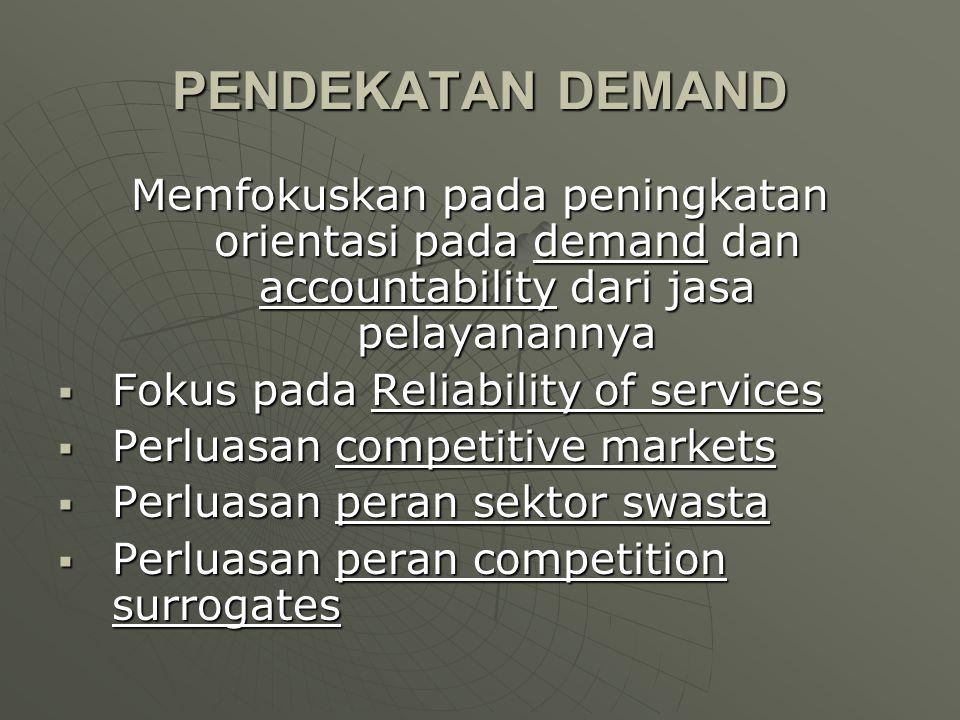 PENDEKATAN DEMAND Memfokuskan pada peningkatan orientasi pada demand dan accountability dari jasa pelayanannya  Fokus pada Reliability of services 