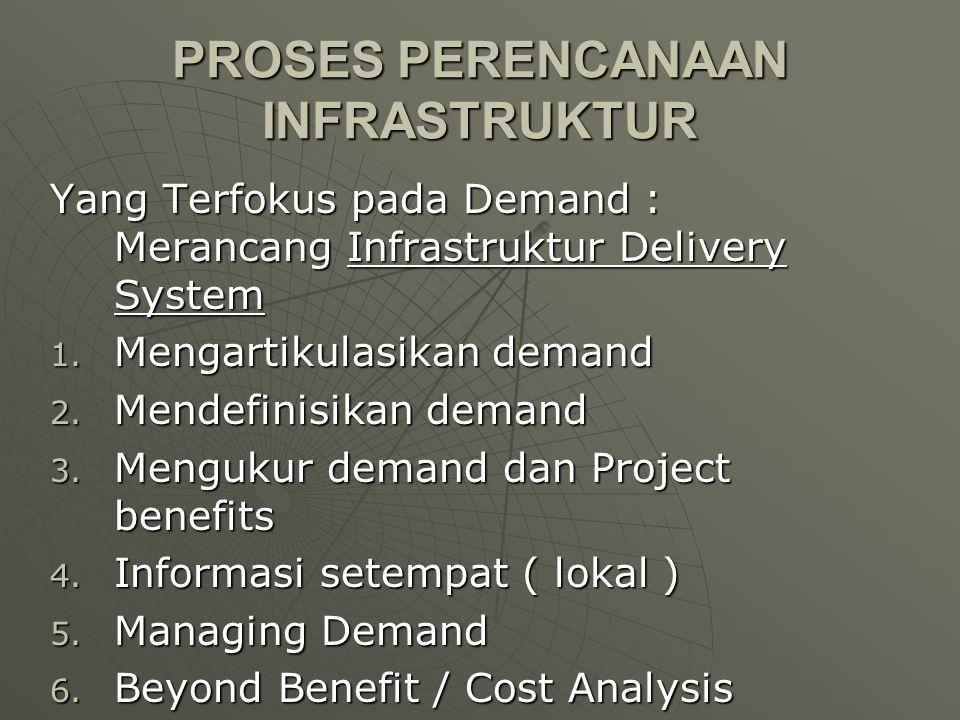 PROSES PERENCANAAN INFRASTRUKTUR Yang Terfokus pada Demand : Merancang Infrastruktur Delivery System 1. Mengartikulasikan demand 2. Mendefinisikan dem