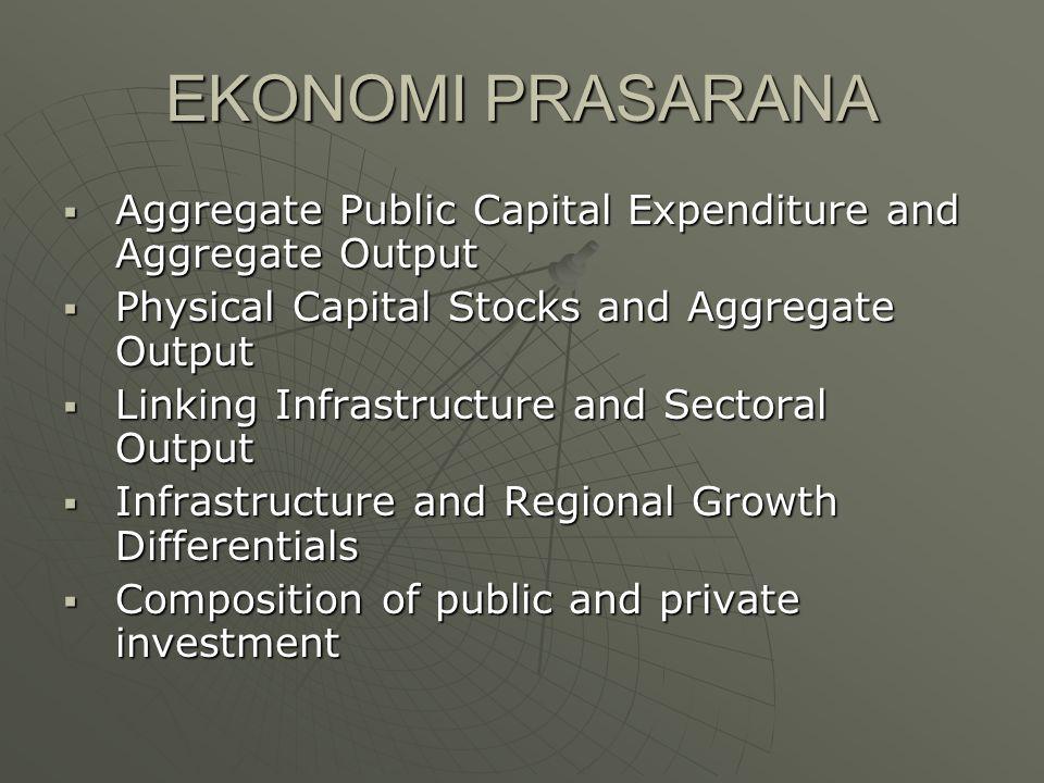 EKONOMI PRASARANA  Aggregate Public Capital Expenditure and Aggregate Output  Physical Capital Stocks and Aggregate Output  Linking Infrastructure