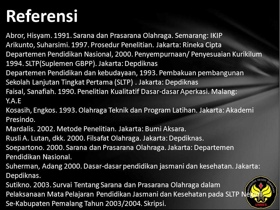 Referensi Abror, Hisyam. 1991. Sarana dan Prasarana Olahraga.