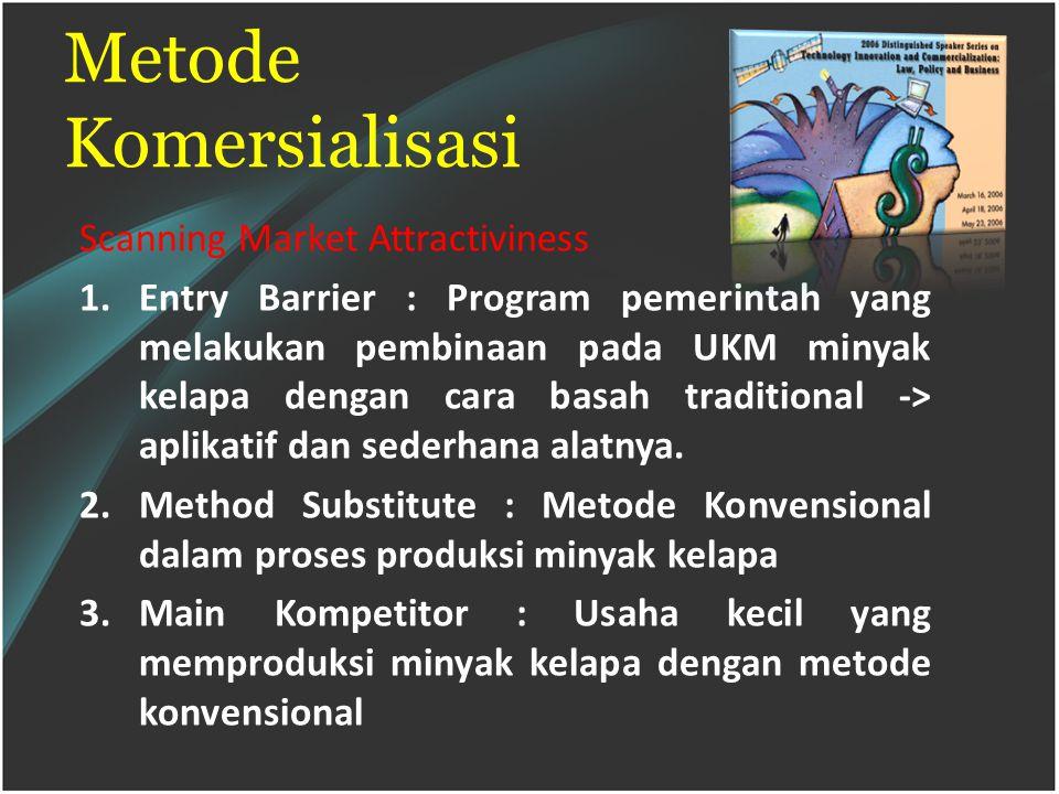 Metode Komersialisasi Scanning Market Attractiviness 1.Entry Barrier : Program pemerintah yang melakukan pembinaan pada UKM minyak kelapa dengan cara basah traditional -> aplikatif dan sederhana alatnya.