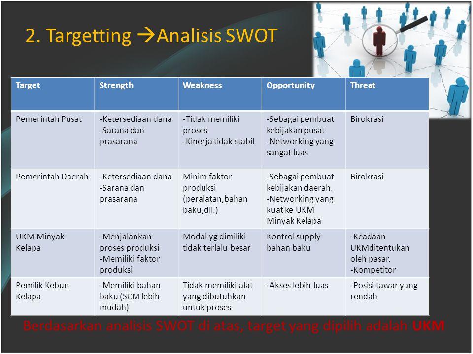 Berdasarkan analisis SWOT di atas, target yang dipilih adalah UKM 2.