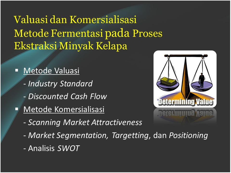 Valuasi dan Komersialisasi Metode Fermentasi pada Proses Ekstraksi Minyak Kelapa  Metode Valuasi - Industry Standard - Discounted Cash Flow  Metode Komersialisasi - Scanning Market Attractiveness - Market Segmentation, Targetting, dan Positioning - Analisis SWOT