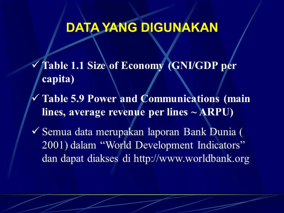 DATA YANG DIGUNAKAN Table 1.1 Size of Economy (GNI/GDP per capita) Table 5.9 Power and Communications (main lines, average revenue per lines ~ ARPU) Semua data merupakan laporan Bank Dunia ( 2001) dalam World Development Indicators dan dapat diakses di http://www.worldbank.org
