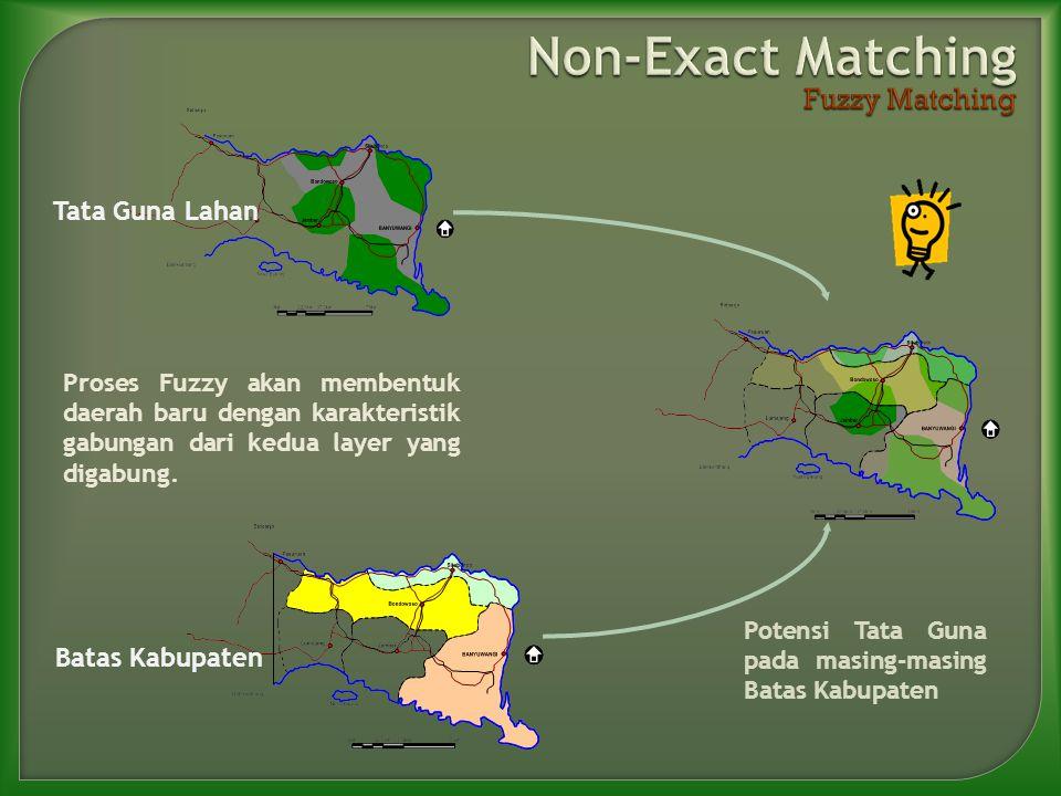 Proses Fuzzy akan membentuk daerah baru dengan karakteristik gabungan dari kedua layer yang digabung. Tata Guna Lahan Batas Kabupaten Potensi Tata Gun