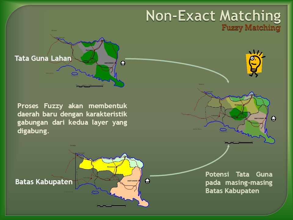 Proses Fuzzy akan membentuk daerah baru dengan karakteristik gabungan dari kedua layer yang digabung.