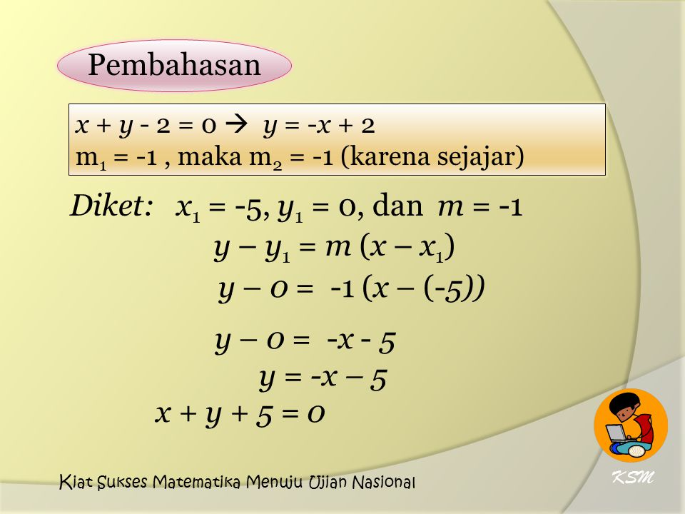 y – y 1 = m (x – x 1 ) y – 0 = -1 (x – (-5)) y – 0 = -x - 5 y = -x – 5 x + y + 5 = 0 Pembahasan x + y - 2 = 0  y = -x + 2 m 1 = -1, maka m 2 = -1 (karena sejajar) Diket: x 1 = -5, y 1 = 0, dan m = -1 KSM K iat Sukses Matematika Menuju Ujian Nasional