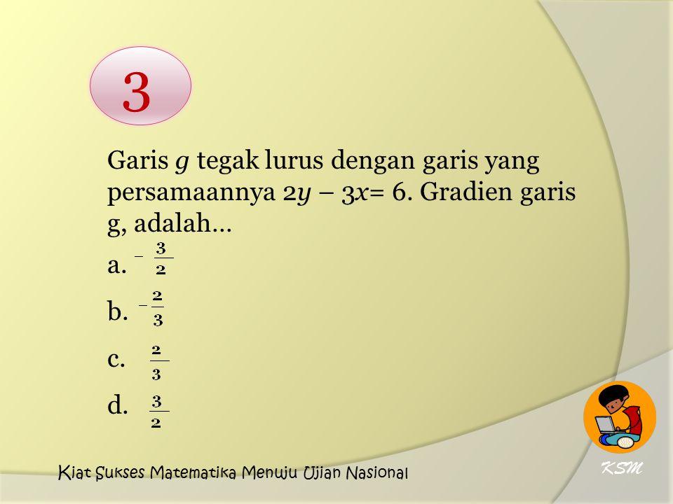 Garis g tegak lurus dengan garis yang persamaannya 2y – 3x= 6. Gradien garis g, adalah… a. b. c. d. 3 KSM K iat Sukses Matematika Menuju Ujian Nasiona
