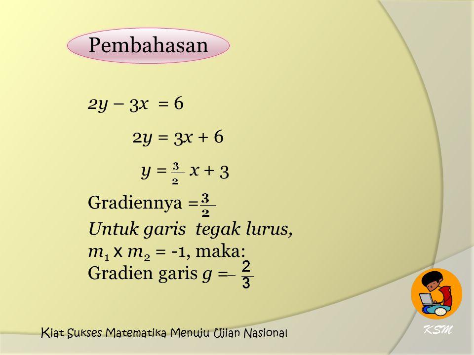 Pembahasan 2y – 3x = 6 2y = 3x + 6 y = x + 3 Gradiennya = Untuk garis tegak lurus, m 1 x m 2 = -1, maka: Gradien garis g = KSM K iat Sukses Matematika Menuju Ujian Nasional