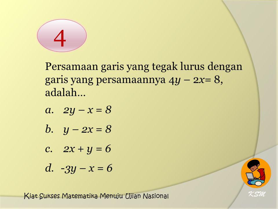 Persamaan garis yang tegak lurus dengan garis yang persamaannya 4y – 2x= 8, adalah… a. 2y – x = 8 b. y – 2x = 8 c. 2x + y = 6 d.-3y – x = 6 4 KSM K ia