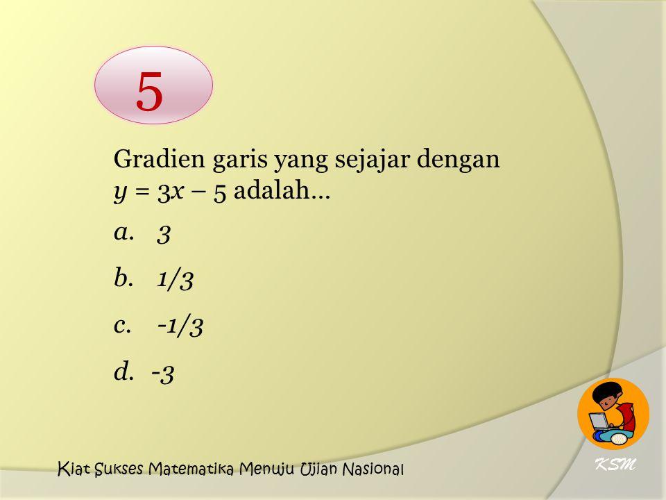 Gradien garis yang sejajar dengan y = 3x – 5 adalah… a. 3 b. 1/3 c. -1/3 d.-3 5 KSM K iat Sukses Matematika Menuju Ujian Nasional