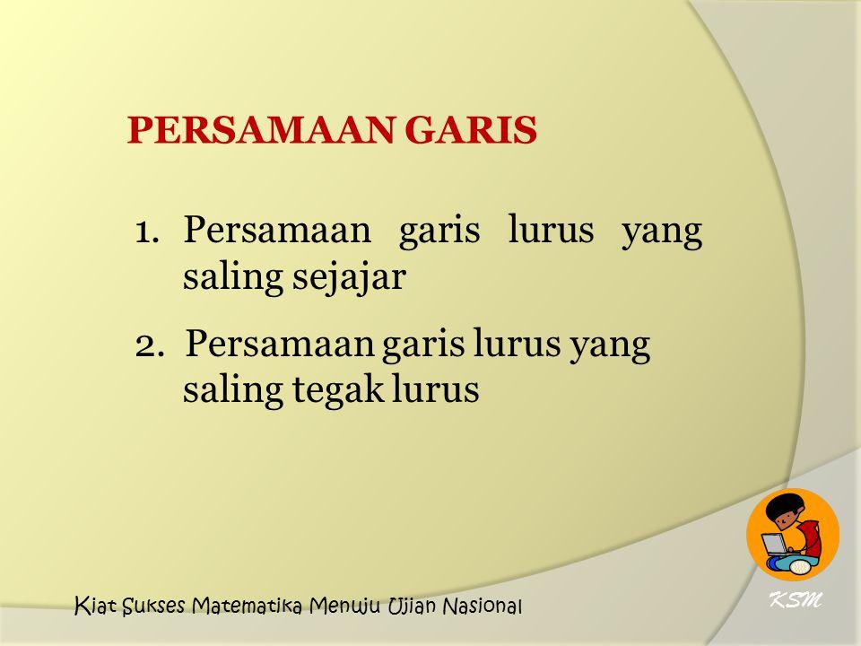 PERSAMAAN GARIS 1.Persamaan garis lurus yang saling sejajar 2. Persamaan garis lurus yang saling tegak lurus KSM K iat Sukses Matematika Menuju Ujian