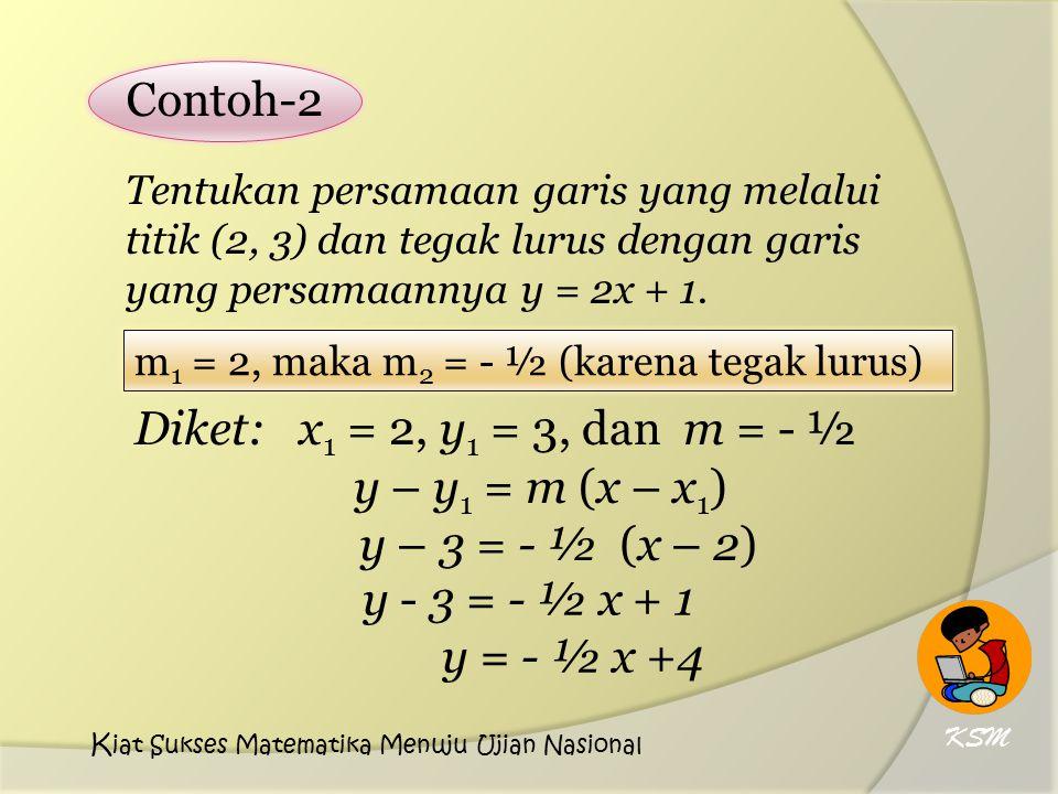 Tentukan persamaan garis yang melalui titik (2, 3) dan tegak lurus dengan garis yang persamaannya y = 2x + 1.