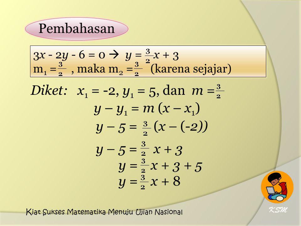 y – y 1 = m (x – x 1 ) y – 5 = (x – (-2)) y – 5 = x + 3 y = x + 3 + 5 y = x + 8 Pembahasan 3x - 2y - 6 = 0  y = x + 3 m 1 =, maka m 2 = (karena sejaj