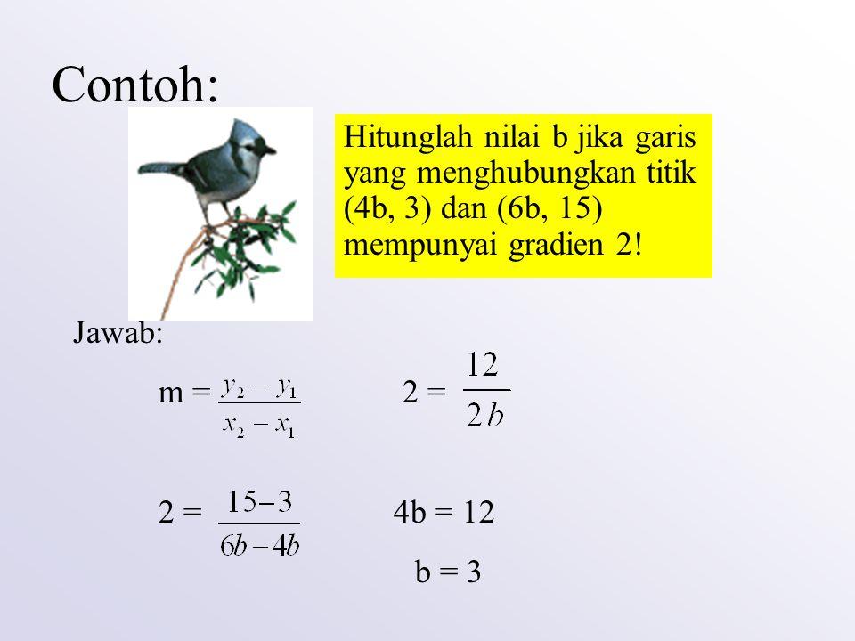 Contoh: Hitunglah nilai b jika garis yang menghubungkan titik (4b, 3) dan (6b, 15) mempunyai gradien 2! Jawab: m = 2 = 2 = 4b = 12 b = 3