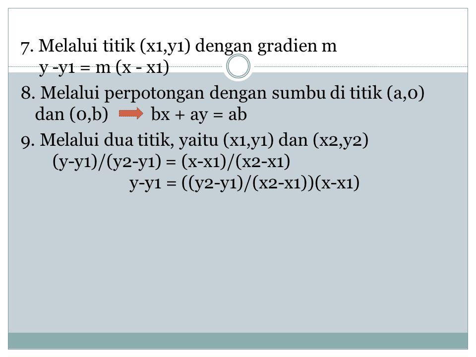 7. Melalui titik (x1,y1) dengan gradien m y -y1 = m (x - x1) 8. Melalui perpotongan dengan sumbu di titik (a,0) dan (0,b) bx + ay = ab 9. Melalui dua