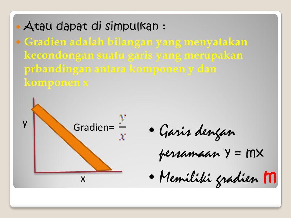Atau dapat di simpulkan : Gradien adalah bilangan yang menyatakan kecondongan suatu garis yang merupakan prbandingan antara komponen y dan komponen x