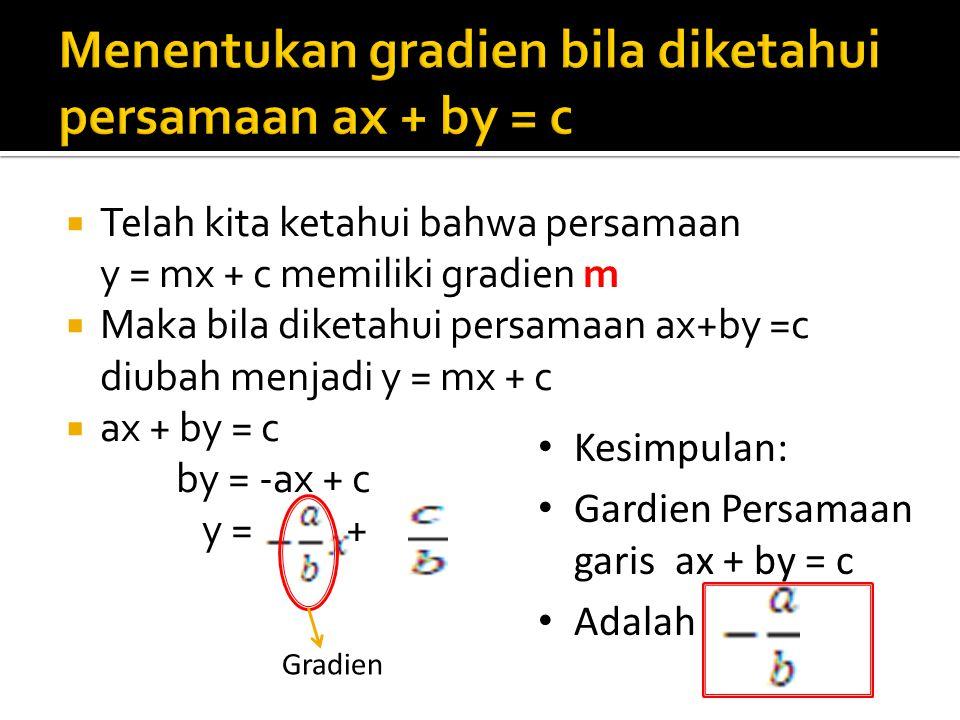  Telah kita ketahui bahwa persamaan y = mx + c memiliki gradien m  Maka bila diketahui persamaan ax+by =c diubah menjadi y = mx + c  ax + by = c by