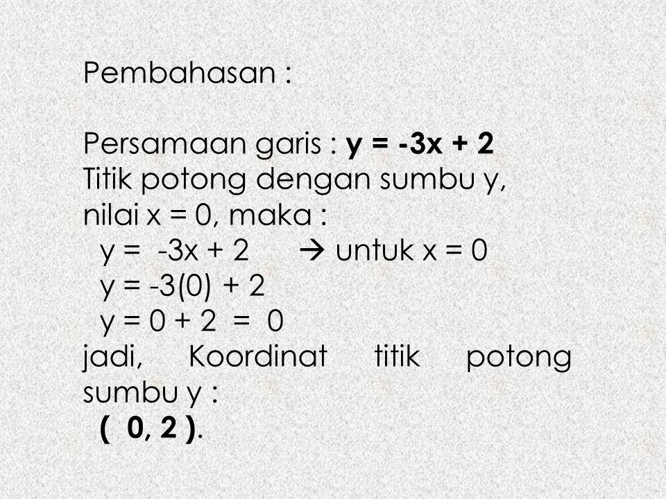 Pembahasan : Persamaan garis : y = -3x + 2 Titik potong dengan sumbu y, nilai x = 0, maka : y = -3x + 2  untuk x = 0 y = -3(0) + 2 y = 0 + 2 = 0 jadi