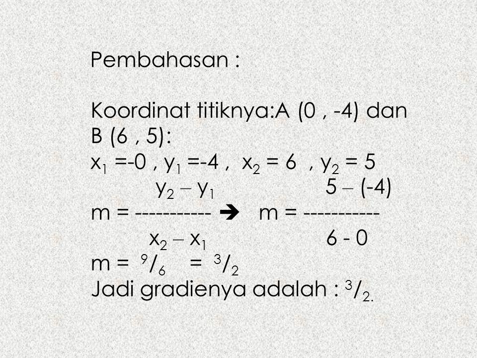 Pembahasan : Koordinat titiknya:A (0, -4) dan B (6, 5): x 1 =-0, y 1 =-4, x 2 = 6, y 2 = 5 y 2 – y 1 5 – (-4) m = -----------  m = ----------- x 2 –