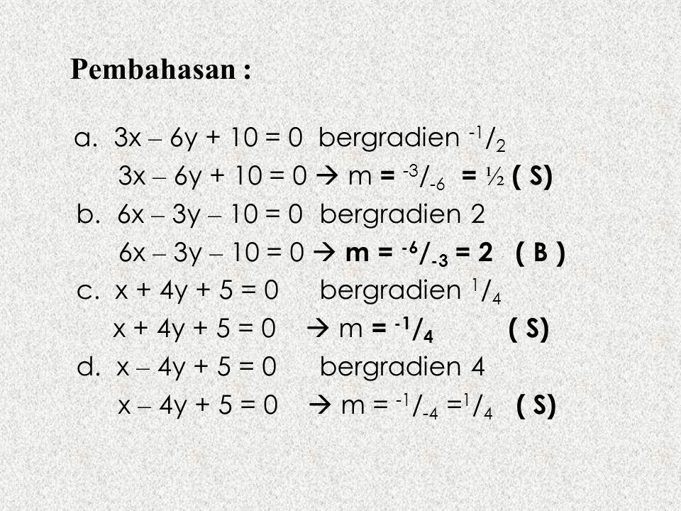 Pembahasan : a. 3x – 6y + 10 = 0 bergradien -1 / 2 3x – 6y + 10 = 0  m = -3 / -6 = ½ ( S) b. 6x – 3y – 10 = 0bergradien 2 6x – 3y – 10 = 0  m = -6 /