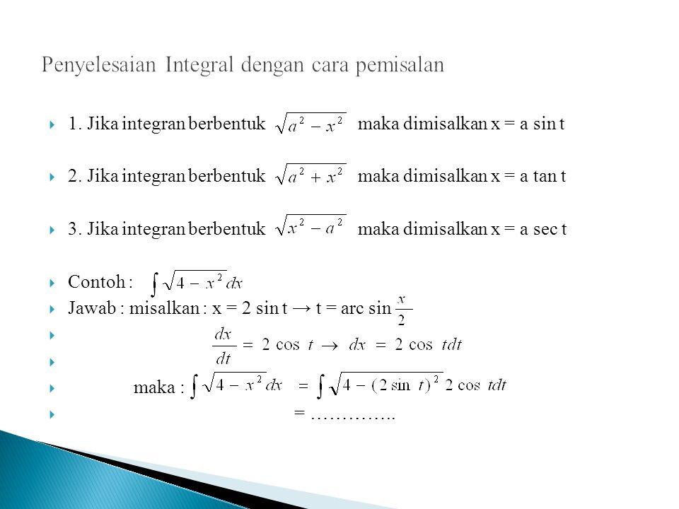  1.Jika integran berbentuk maka dimisalkan x = a sin t  2.