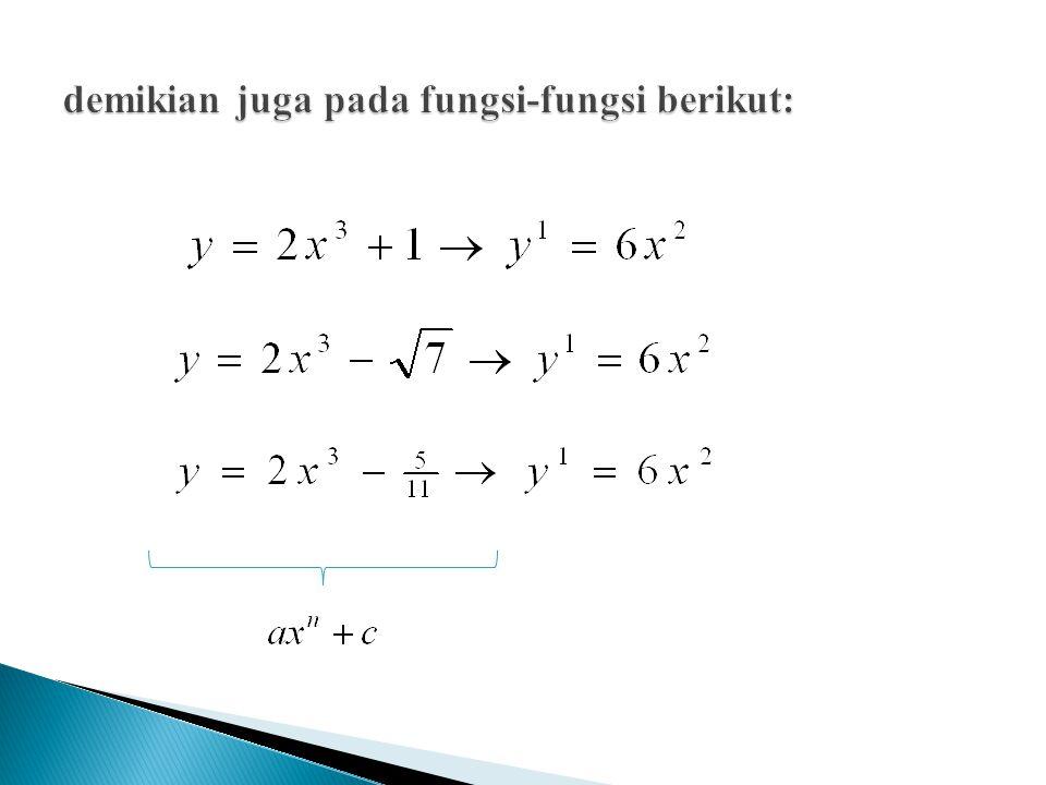 Diketahui suatu kurva y = f(x) Gradien garis singgung kurva di suatu titik adalah sehingga : Nilai c dapat ditentukan jika salah satu titik pada kurva tsb diketahui Contoh : Gradien garis singgung suatu kurva di titik (x,y) adalah 4x – 5, Kurva tsb melalui titik (0,5), tentukan persamaan kurva tsb.
