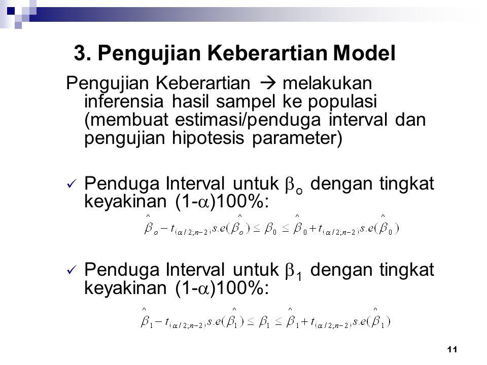 11 3. Pengujian Keberartian Model Pengujian Keberartian  melakukan inferensia hasil sampel ke populasi (membuat estimasi/penduga interval dan penguji